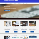 Screenshot of library's new homepage