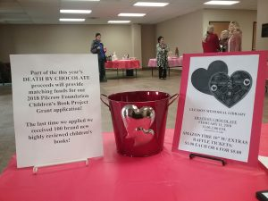 2018 Death by Chocolate Pilcrow Grant and Kindle Fire Raffle signage