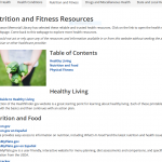 Snapshot of library's nutrition and fitness page